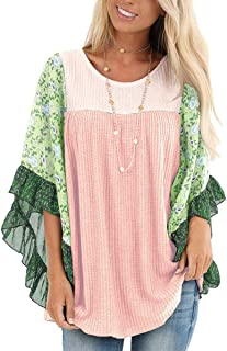 Ysranlr Women's Casual T-Shirt Knit Sweater Floral Print Batwing Sleeve Pullover Blouse Tops