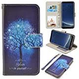 UrSpeedtekLive Galaxy S8 Wallet Case Folio Flip Premium PU Leather Case Cover w/Card Holder Slot Pockets, Wrist Strap, Magnetic Closure Compatible with Samsung Galaxy S8 (2017), Believe in Yourself