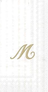 """Ideal Home Range 96 Count Stripes Again Monogram Letter M Paper Guest Towel Napkins, 8.5"""" x 4.5"""""""