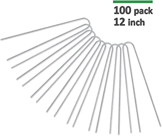 GROWNEER 100-Pack 12 Inches Heavy Duty 11 Gauge Galvanized Steel Garden Stakes Staples Securing Pegs for Securing Weed Fabric Landscape Fabric Netting Ground Sheets and Fleece