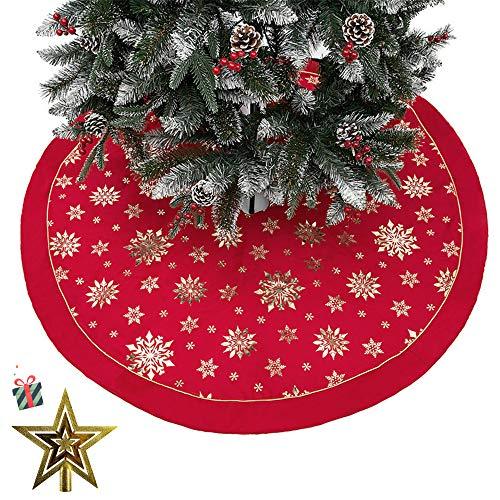 Jupe de Sapin de Noël, Morbuy Jupe Arbre de Noël en Velours Blanc Peluche de 48 inch Décoration d?Arbre de Noël Couvre Pied Tapis Vacances Couvre Pied Sapin Noel (121CM,Rouge)