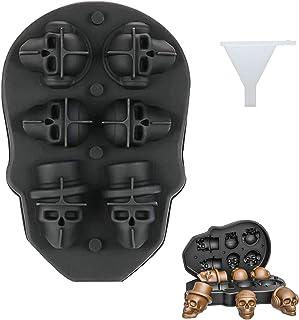 Plateau de moule crâne 3D, moule Halloween crâne avec entonnoir, moule à glaçons en silicone de qualité supérieure pour la...
