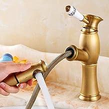 Aanrecht Mengkraan Alle Koperen Keramische Handvat Kraan Hotel Villa Luxe Residentiële Decoratieve Slang Douchekraan-Geel