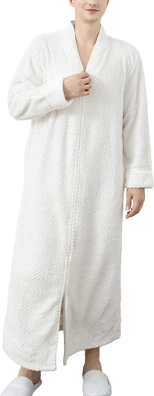 Lu's Chic Men's Long Sleeve Robe Fluffy Bathrobe Zipper Front Housecoat Warm Plush with Pocket