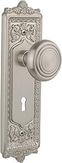 "Nostalgic Warehouse Egg & Dart Plate with Keyhole Deco Knob, Privacy - 2.375"", Satin Nickel"
