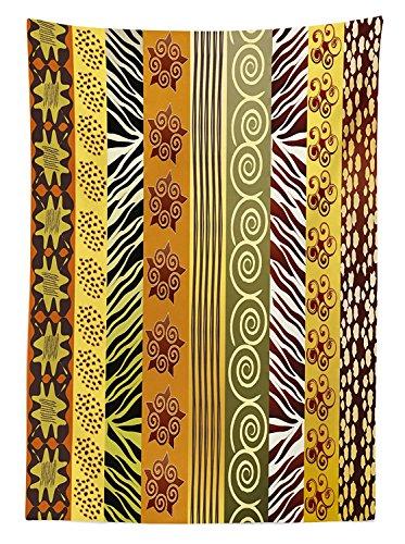 Yeuss - Mantel de decoracion tribal, diseno etnico africano, decoracion para el hogar, comedor, cocina, mesa rectangular, color verde mostaza, 52\ x 70\(132 x 178 cm)