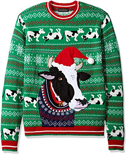 Blizzard Bay Men's Ugly Christmas Sweater Animals, Green, Large