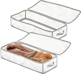 mDesign Boite Rangement pour vêtements, Linge etc. (Lot de 2) - Panier Rangement Pliable avec poignée et Fermeture éclair ...