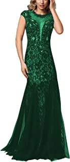 Mermaid Mother The Bride Dresses Illusion Neckline Deep V Lace Beaded Tulle Formal Evening Prom Dress
