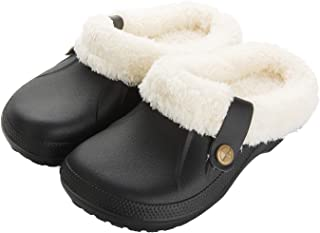 Waterproof Slippers Women Men Fur Lined Clogs Winter...