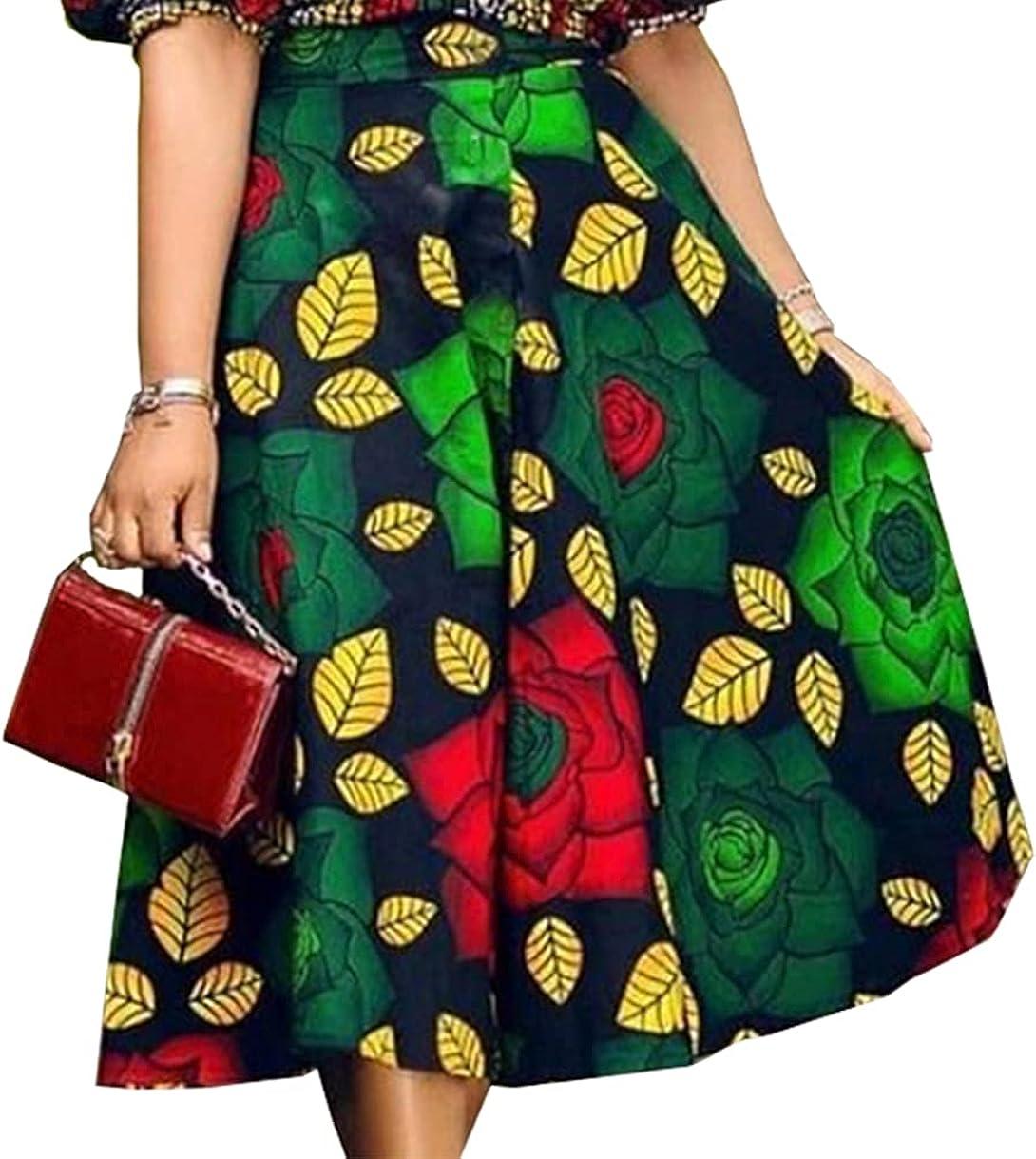 AOMEI Women's Green High Waist Vintage Floral Leaf Printed A-Line Skirt