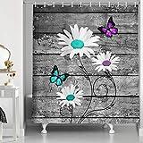 NYMB Duschvorhang-Set, Blaugrüne Schmetterlinge mit weißen Gänseblümchen, Polyester-Stoff, mit 12 Haken, Blumen, Gänseblümchen auf rustikalem grauen Scheunenholz Badezimmervorhang 69X70in multi