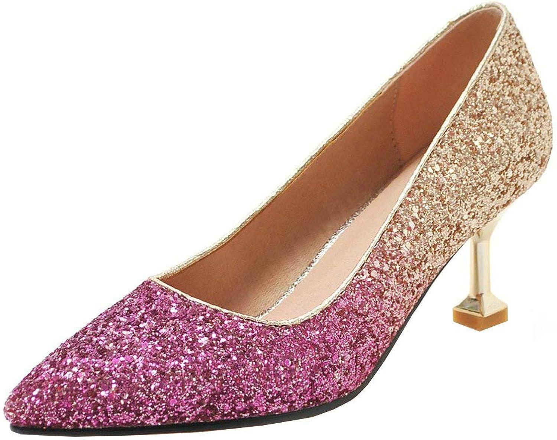 KIKIVA Women Gliiter Pointed Toe Pumps Stiletto Multi color Court shoes