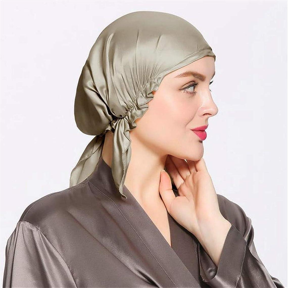 そよ風助手フリンジ弾性スリーピングキャップ 調節可能な伸縮性があるリボンが付いている柔らかい帽子を眠っている脱毛の女性のためのシルクの睡眠の帽子のボンネット (色 : カーキ, サイズ : Free size)