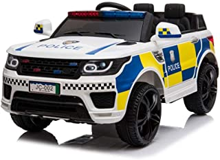 ZXCVBNM American Standard JC002 Police Car Two-Seater Children's Electric Toy Car Bluetooth with Microphone Configuration Suitable for Outdoor Games 12V 4.5AH (Paper Box)