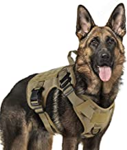 Tactical Dog Harness Vest Large with Handle, Military Dog Harness Working Dog Vest with MOLLE & Loop Panels, No-Pull Adjustable Training Vest with Metal Buckles & Leash Clips for Outdoor Hiking