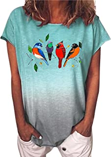 Camiseta Holgada De Color Degradado con Estampado De PáJaros, Camiseta De Manga Corta Informal De Moda para Mujer