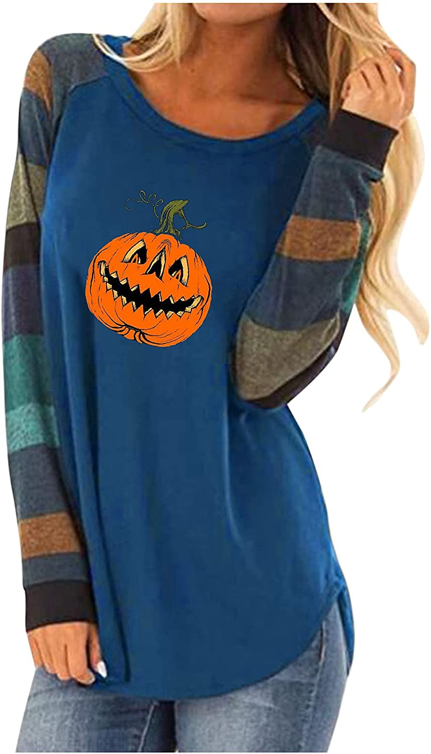 Halloween Long Sleeve Blouse for Women,Casual Round Neck Witch Ghost Pumpkin Funny Cute Print Sweatshirts Shirts Tops