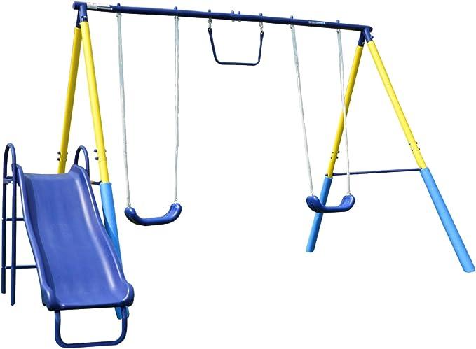 Sportspower My First Metal Swing Set with Slide - Best Backyard Playsets