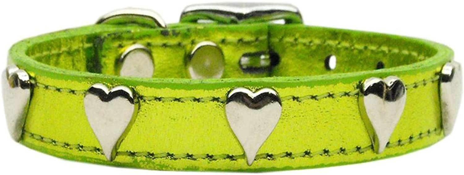 Mirage Pet Products 8314 12LGM Metallic Heart Leather Dog Collar, 12 , Metallic Lime Green