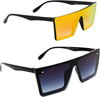 Dervin Men's and Women's Flat Design Rectangular Sunglasses (Yellow, Black) - Combo of 2