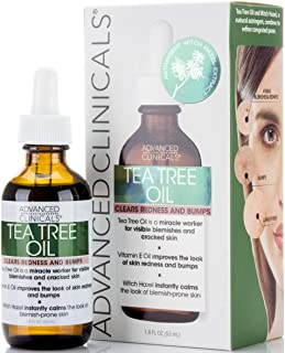 Advanced Clinicals Tea Tree Oil for Redness and Bumps. Maskne Treatment and Prevention. Helps to Clarify Skin. (1.8oz)