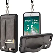 TOOVREN Upgraded iPhone 7 Plus Case, iPhone 8 Plus Wallet Case, Necklace Lanyard Case with Kickstand Card Holder, Ajust Detachable Anti-Lost Lanyard Strap Perfect for Daily use, Work, Outdoors Grey