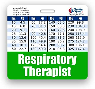 Respiratory Therapist Badge Buddy Horizontal w/Height & Weight Conversion Charts (Standard, Green)
