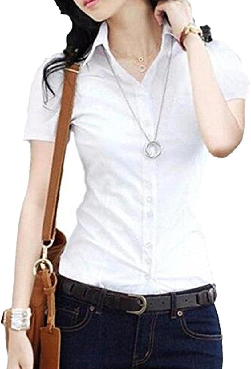 Taiduosheng Women Cotton Pleated Slim fit Button Down Shirt Short Sleeve Blouse