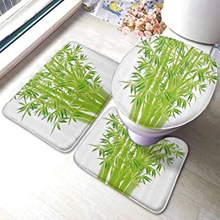 U-Shaped Contour Rug Mat & Toilet Lid Cover Set Exotic,Bamboo Stems with Leaves Spiritual Fresh Bunch Tropical Plant Eco Foliage Print,Lime Green,Carpet for Living Room