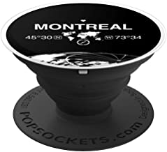 Montreal Quebec Canada World Map Globe Coordinate GPS Gift - PopSockets Grip and Stand for Phones and Tablets