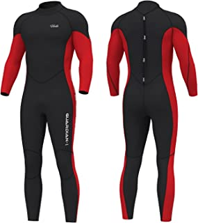 HEVTO Full Wetsuits Scuba Diving Suits 3mm for Men and Women (Red Men, 3XL)
