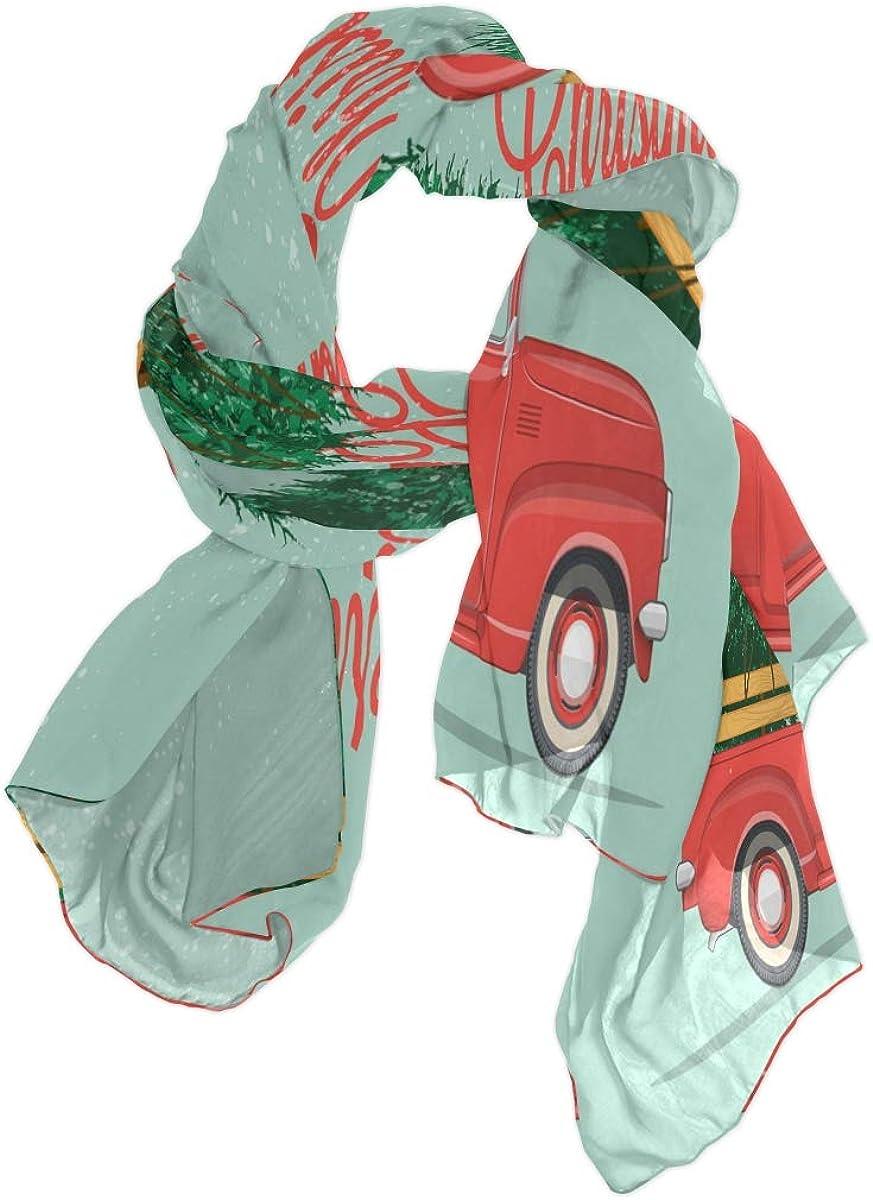 ALAZA Merry Christmas Happy New Year Car Chiffon Silk Long Scarf Shawl Wrap