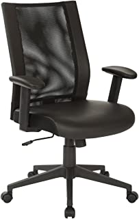 Office Star EM Series Woven Mesh Back Manager's Chair with Angled Nylon Base, Black