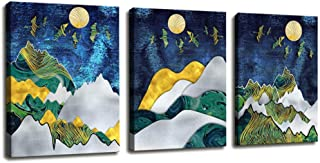 Canvas Wall Art for Bedroom Contemporary Simple Life Abstract Mountain Geometry Cube Decor Canvas Painting Poster Bathroom Decor - 3 Panels Framed Art Canvas Prints for Living Room Office Home Decor