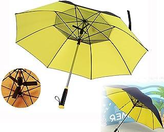 Sombrilla ultraligera, sombrilla de viaje para hombres y mujeres con función de ventilador, protector solar automático UPF 50+ a prueba de viento portátil para playa Camping piscina cubierta Playa Pa
