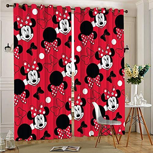 Cortinas para sala de estar con aislamiento de Mickey Minnie Mouse para todas las estaciones, par con ojales en la parte superior, 117 x 138 cm x 2 piezas