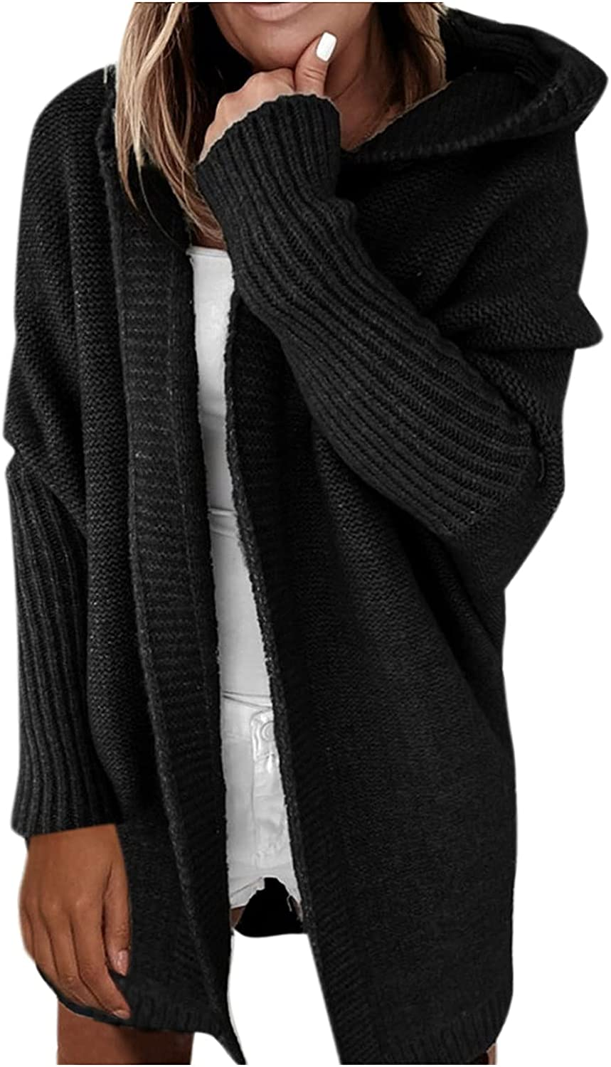 Oversized Sweaters For Women Open Front Solid Color Hooded Jackets Women Fashion Batwing Sleeve Sweater Cardigan Coat