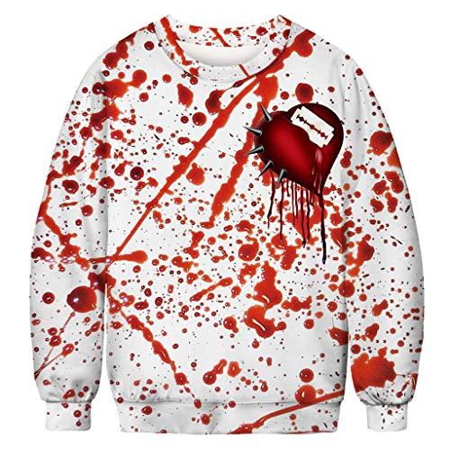 ZHANSANFM Halloween Kostüme Unisex Langarm Pullover 3D Blutfleck Druck Lustiger Stil Sweatshirt Bunte Gruselig Kapuzenpulli Sweatshirt Weihnachten Kapuzenjacke Party Shirt (L, Weiß1)