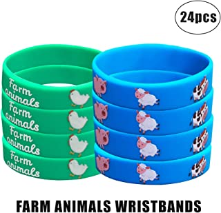 24 Pack Barnyard Farm Animal Wristbands Bracelets, Barnyard Farm Birthday Party Favors for Kids, Goody Bag Sports Teacher & School Gifts for Boys and Girls