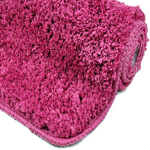 WohnDirect Badematten zum Set kombinierbar • Badvorleger 45x45 cm • Badteppich rutschfest & waschbar • Pink • MIT WC Ausschnitt
