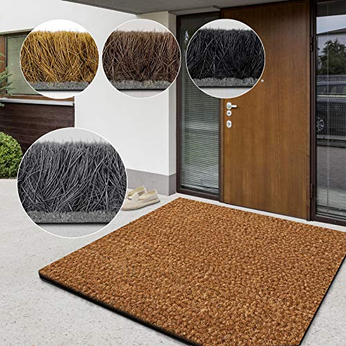 casa pura Alfombras Coco Natural - Felpudo Natural | Fibra de Coco Premium | Alfombras Coco al Corte | Absorbente y Resistente | 17mm - Natural, 40x60 cm