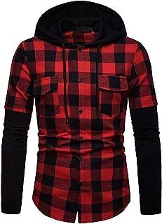 WSPLYSPJY Men's Shirts, Autumn Winter Long Sleeve Plaid Hooded Shirts