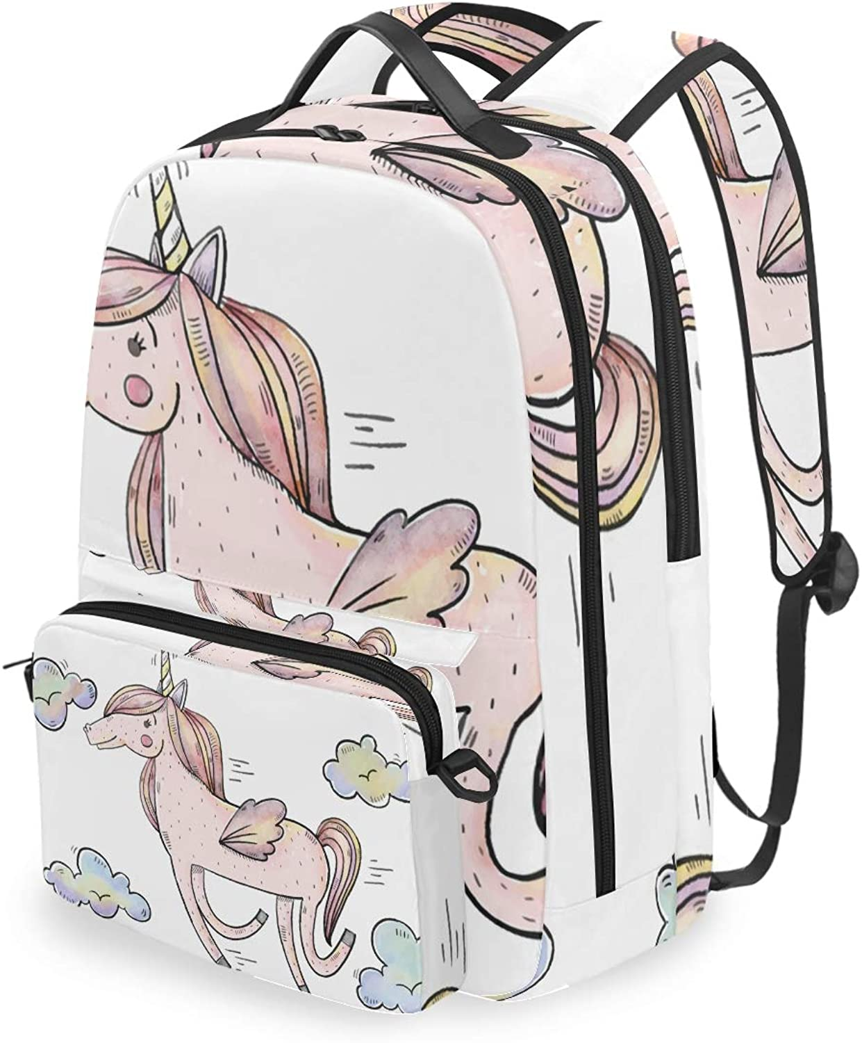FANTAZIO Backpacks and Cross Bag Running Unicorn School Bag Set