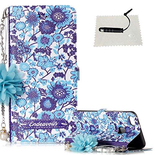 TOCASO Schutzhülle für Huawei P10 Lite Stand Hülle Wallet Klapphülle Folio Rückseite Brieftasche mit Karten Slot Karte Handschlaufe Ständer Stand Magnet Handyhülle -Blaues weißes Porzellan