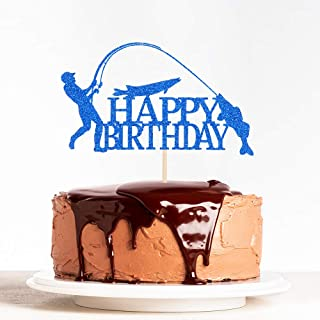 WeBenison Happy Birthday Cake Topper with Fishing Fisherman Theme, Funny Birthday Party Decorations Blue Glitter