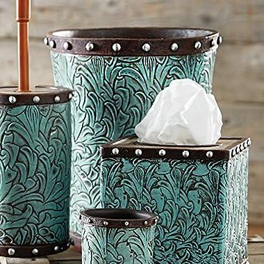 Black Forest Decor Tooled Turquoise Flowers Waste Basket