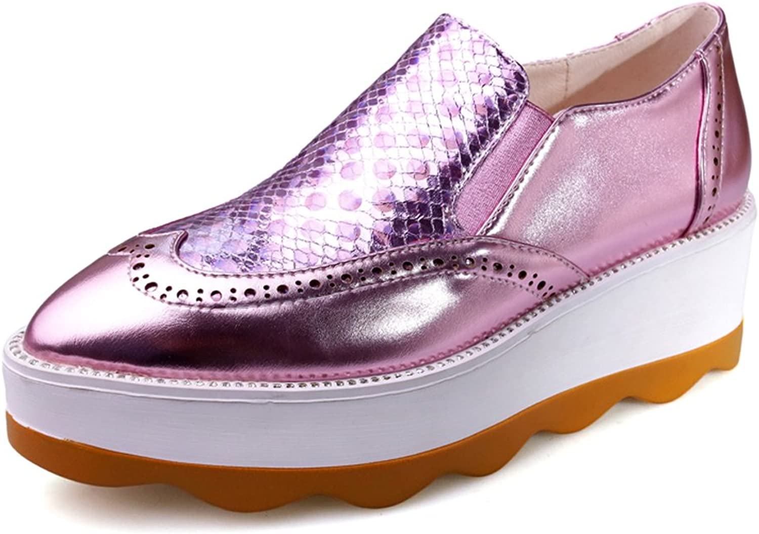 AIWEIYi Womens Platform Wingtips shoes Thick Sole Slip on Oxfords Dress shoes Pink