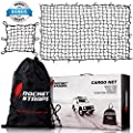 """ROCKET STRAPS - Cargo Net 4'X6' Stretches to 7.2'X10.5'   Heavy Duty 5mm Tightly Woven 3""""X3"""" Mesh No Gaps In Securing Cargo Loads To Trucks & Trailers   20 Aluminum Carabiners   Large Carrying Bag"""