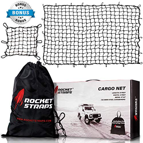 "ROCKET STRAPS Cargo Net   4'x6' Bungee Net Stretches to 8'x12'   Truck Bed Net Includes (12) Steel Carabiners & Bag   Heavy Duty 5mm 3""x3"" Mesh   Bonus 16"